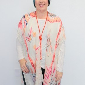 You Move The Mountains Ivory Kimono With Feather Accents - One Size