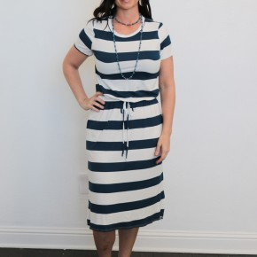 Surrender To Your Kindness Striped Dress With Side Slit In Navy - Sizes 4-12