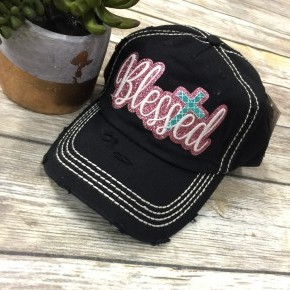 Blessed Bedazzled Cross Ball Cap In Black