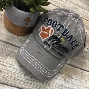 Football Mama (May Yell Loudly) Distressed Ball Cap In Gray