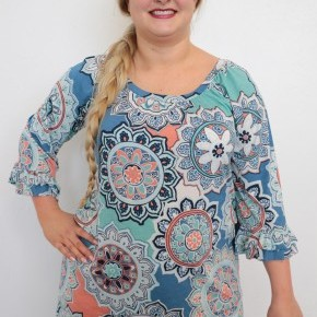 Bring It On  Circle Mix Print Top With Ruffle Sleeve In Blue- Sizes 12-20
