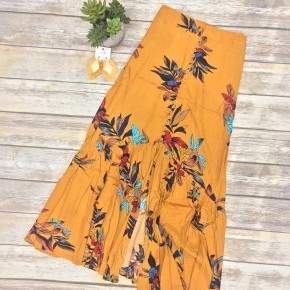 Flowy Boho Button-Up Skirt in Mustard - Sizes 4-12