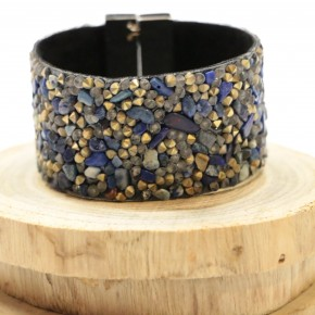 In A Sea Of Fish Rock Beaded Bracelet With Magnetic Clasp - Blue & Gold