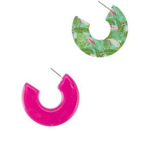 Flamingos & Palms  C-Shaped Earrings In Hot Pink