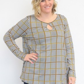 I'm Speechless Plaid Houndstooth Top With Mustard Accents - Sizes 12-20