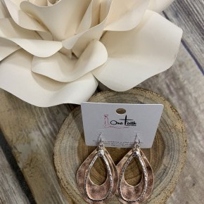 Let Your Dreams Blossom Rose Gold Hammered Teardrop Earrings