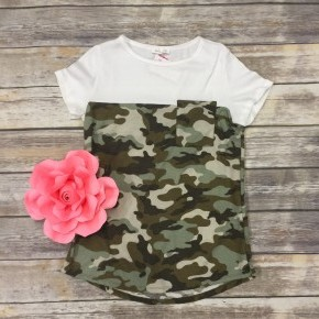 You Overcame Camo Contrast Top In Ivory - Sizes 4-10