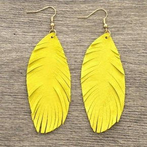 Think About Me Suede Earrings - Yellow