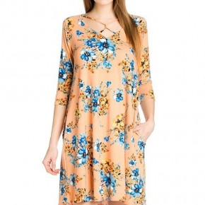 Heading South 3/4 Sleeve Floral Dress In Peach - Sizes 4-20