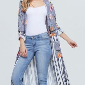 How Great Is Our God Floral And Striped Duster In Navy - Sizes 4-20
