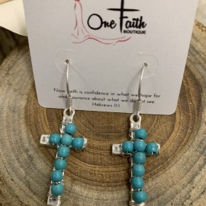 With Love In Your Heart Silver Cross Earrings With Turquoise Beads