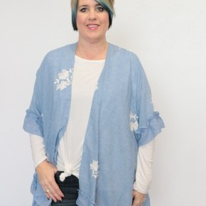 Sing Your Praise Again Blue Kimono With Ivory Floral Accent - Sizes 4-20