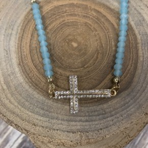 My Living Hope Cross Necklace With Blue Beaded Accents