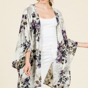 Oh Glorious Day Floral Kimono In Ivory - Sizes 12-20
