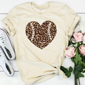I Love Baseball Leopard Heart Graphic Tee - Sizes 4-12