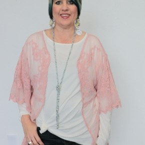 No More Shame Crochet Kimono In Blush - One Size