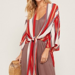 We Can Do This Striped Tie Front Kimono In Red - Sizes 12-20