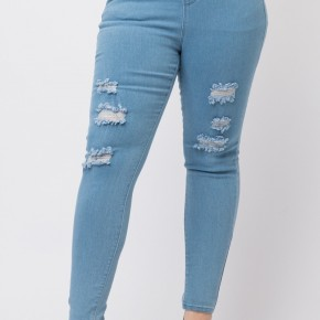 The Kaye Distressed Jeggings in Light Denim - Sizes 12-20