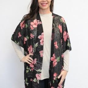 Your Inner Child Floral Kimono In Black
