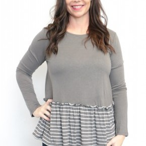 Stripes In All The Right Places Long Sleeve Babydoll Top In Gray - Sizes