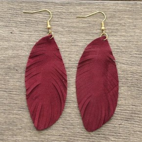 Think About Me Suede Earrings - Burgundy