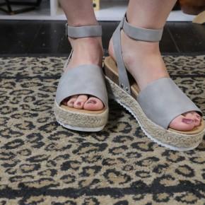 One Step Higher Espadrille Sandals - Gray