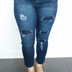 The Presleigh Faux Distressed Jeans In Dark Denim - Sizes 14-22