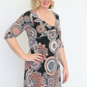 I Am For You Circle Print Dress With Knotted Detail in Charcoal - Sizes 12-20