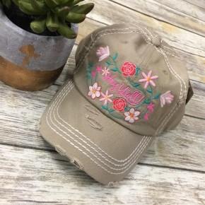 Hey Y'all Distressed Hat In Khaki