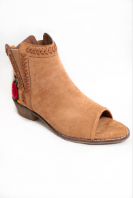 Trend Setter Embroidered Booties in Camel - Sizes 6-10