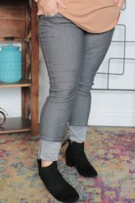 The Zoey Thin Comfy Full Length Jeggings In Charcoal - Sizes 12-20