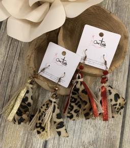 Wild Child Leopard Tassel Earrings in Multiple Colors