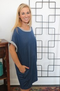 Cuddle Me French Terry Dress in Blue - Sizes 4-10