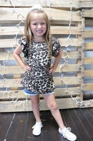 Zoo Day Kids Leopard Top With Ruffled Sleeves