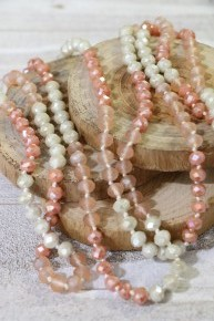 Point Of Perfection Beaded Necklace In Neutral Bliss