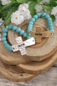 """""""Faith"""" Cross Beaded Bracelet In Multiple Colors"""