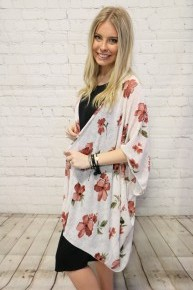 Beauty and Grace Floral Print Kimono in Multiple Colors - One Size Fits Most - Sizes 4-20