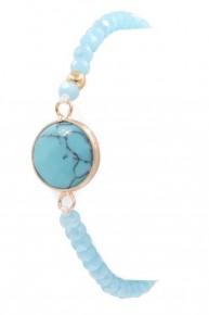 So Much Love  Beaded Stone Bracelet In Blue