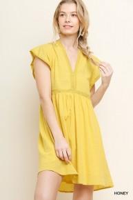 My Sunshine Crochet V-Neck Dress In Yellow- Sizes 4-10