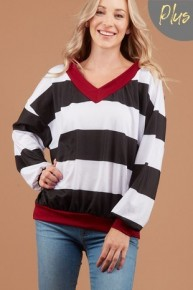 I'm Changing It Striped Oversized Sweater In Black - Sizes 12-20