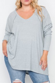 Everyday With You Waffle Knit Long Sleeve Top - Sizes 12-20