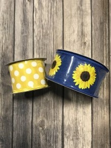 Never Stressed Sunflower Ribbon with Yellow Polka Dot Accent Ribbon