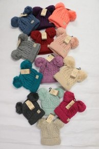 Kids Double Pom CC Beanie in Multiple Colors