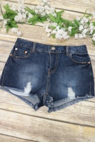 The On The Way Distressed Denim Shorts- Sizes 4-10
