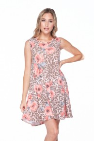 Leopard & Roses Sleeveless Dress - Sizes 4-20