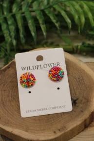 Party Planner Post Back Seed Bead Earrings In Multi