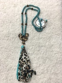 Early Morning Leopard Rooster Tassel Necklace In Turquoise