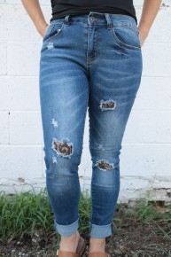 The Halee Dark Wash Skinny Jeans with Leopard Patches- Sizes 2-22