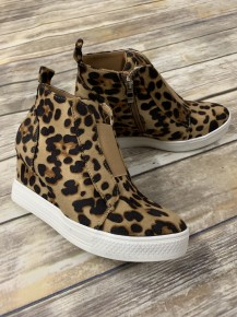 Hurry On Over Wedge Sneaker In Leopard - Sizes 5.5-10