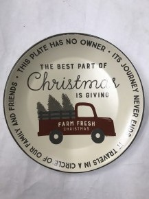 The Best Part Of Christmas Is Giving Plate With Red Truck
